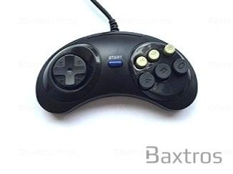 Retro Generic Sega Genesis Controller For Sega Genesis Console Retro in Black Brand New