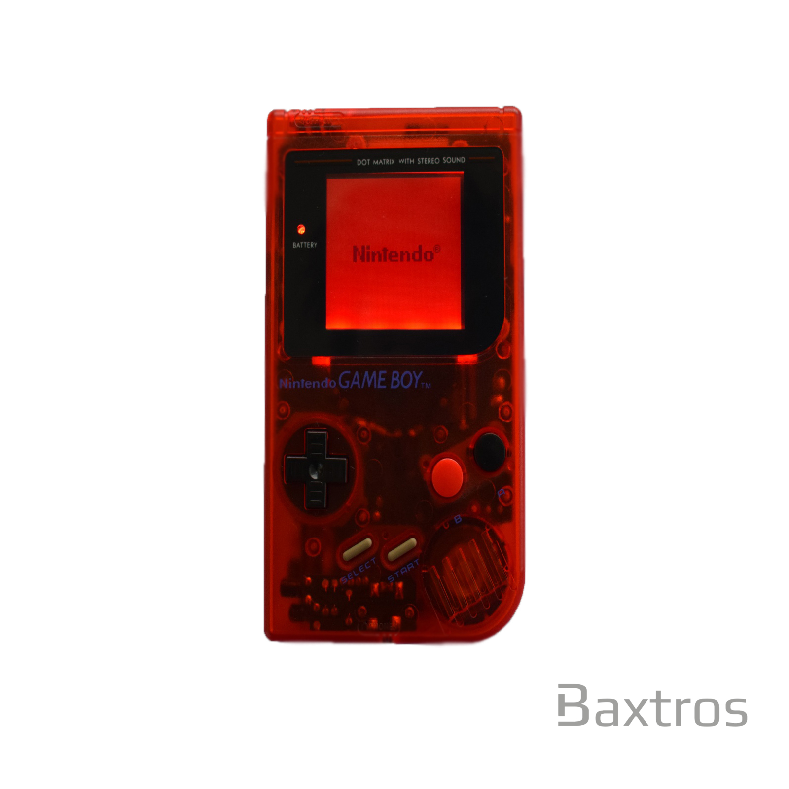 Gameboy Original DMG Backlit Console Transparent Red + Bivert
